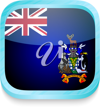 Smart phone button with South Georgia and South Sandwich Islands flag