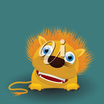 Cute cartoon baby lion