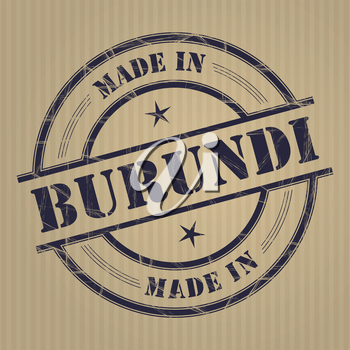 Made in Burundi grunge rubber stamp
