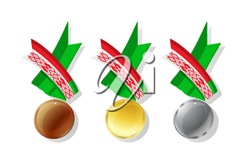 Belarusian medals in gold, silver and bronze with national flag. Isolated vector objects over white background