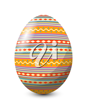 Painted egg celebrating Easter holiday, vector icon over white background