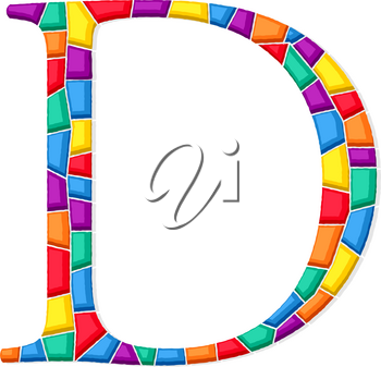 Letter D vector mosaic tiles composition in colors over white background