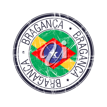 City of Braganca, Brazil postal rubber stamp, vector object over white background
