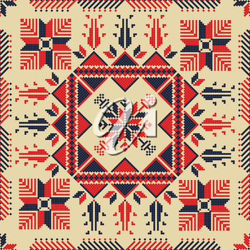 Traditional Palestinian Embroidery Pattern in colors, editable vector composition