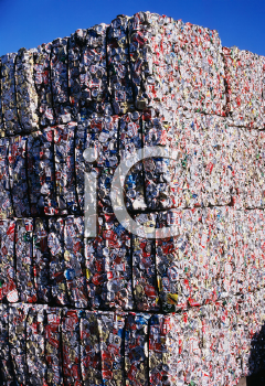 Royalty Free Photo of Compacted Blocks of Aluminum Cans for Recycling