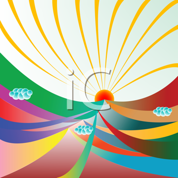 Royalty Free Clipart Image of Sweeping Colours With Sunshine and Beams Above