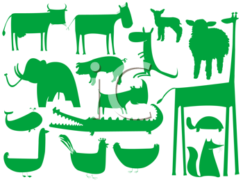 Royalty Free Clipart Image of an Assortment of Animals in Green Silhouette