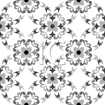 Royalty Free Clipart Image of a Black and White Floral Background