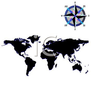 Royalty Free Clipart Image of a Black and Blue Map With a Wind Rose
