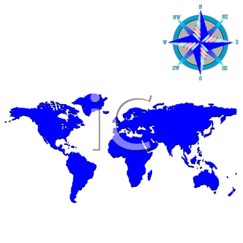 Royalty Free Clipart Image of a Blue Map With a Wind Rose