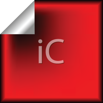 Royalty Free Clipart Image of a Red Sticker Peeling at the Corner