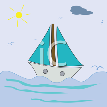 Royalty Free Clipart Image of a Sailing Ship