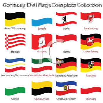 germany civil flags collection against white background, abstract vector art illustration