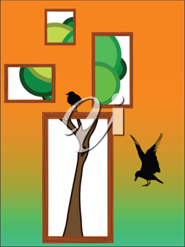 abstract tree with birds, vector art illustration