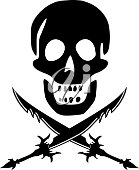 pirate skul and swords against white background, abstract vector art illustration