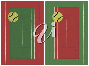 tennis court and ball set, abstract vector art illustration
