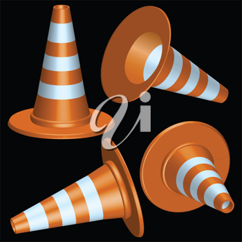 traffic cones with round base against black background, abstract vector art illustration