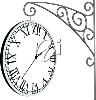 hanged clock over white background, abstract vector art illustration