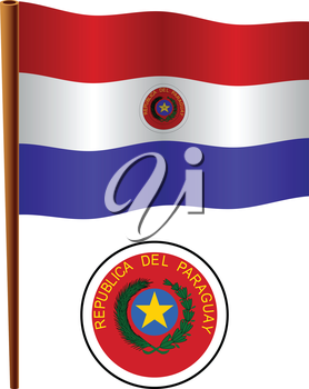 paraguay wavy flag and coat of arm against white background, vector art illustration, image contains transparency