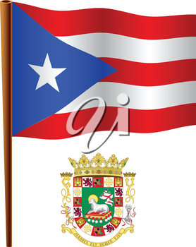 puerto rico wavy flag and coat of arm against white background, vector art illustration, image contains transparency