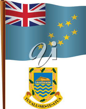 tuvalu wavy flag and coat of arm against white background, vector art illustration, image contains transparency