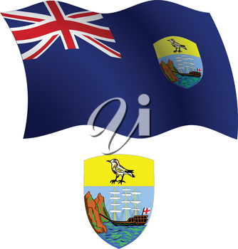 saint helena wavy flag and coat of arm against white background, vector art illustration, image contains transparency