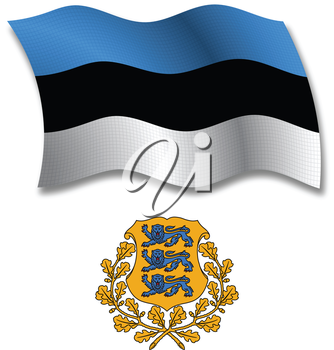 estonia shadowed textured wavy flag and coat of arms against white background, vector art illustration, image contains transparency transparency