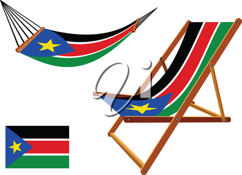south sudan hammock and deck chair set against white background, abstract vector art illustration