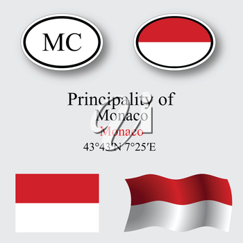 monaco icons set against gray background, abstract vector art illustration, image contains transparency