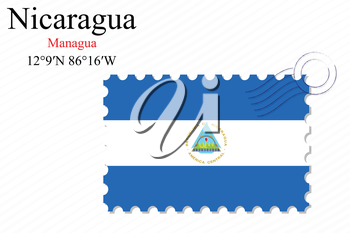 nicaragua stamp design over stripy background, abstract vector art illustration, image contains transparency