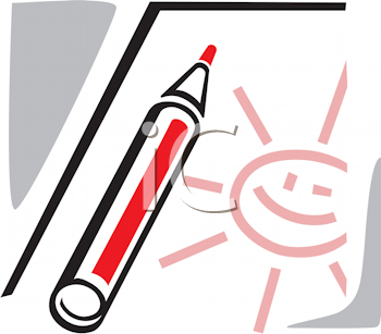 Royalty Free Clipart Image of a Pencil With a Drawn Smiling Sun