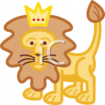 Royalty Free Clipart Image of a Lion With a Crown