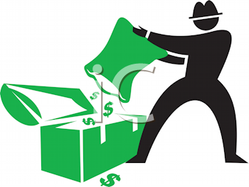 Royalty Free Clipart Image of a Man Dumping Money Into a Chest