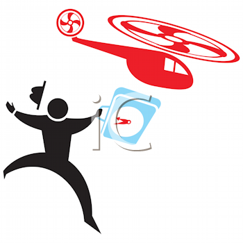 Royalty Free Clipart Image of a Silhouette With a Briefcase Chasing a Helicopter