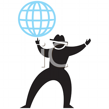 Royalty Free Clipart Image of a Silhouette With a Globe