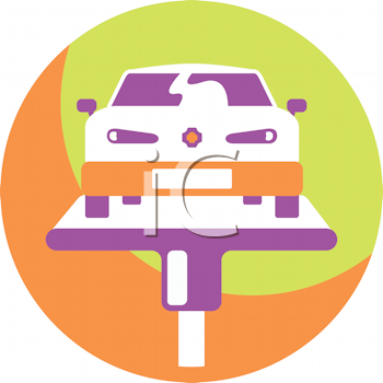 Royalty Free Clipart Image of a Car on a Hoist