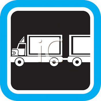 Royalty Free Clipart Image of a Truck and Trailer