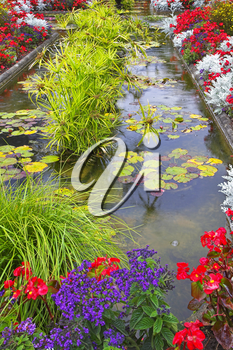 Royalty Free Photo of a Pond and Garden in Vancouver