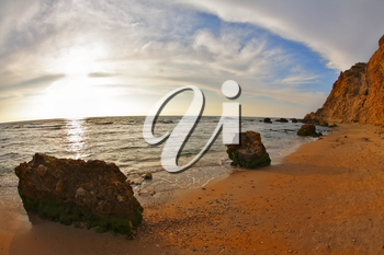 Royalty Free Photo of the Coast of the Mediterranean Sea