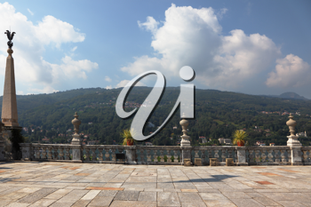 Terrace, adorned with sculptures. Park on the island of Isola Bella on Lake Maggiore