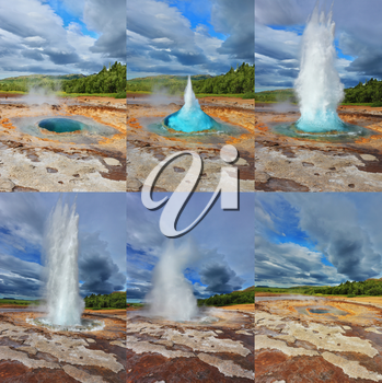 Geyser Strokkur in Iceland. Fountain Geyser throws hot water every few minutes. Collage showing different phases of the action of the geyser