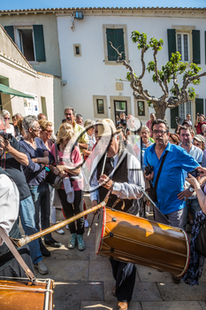 Saint-Marie-de-la-Mer, Provence, France - May 25, 2015. The religious procession in honor of the Holy Mary and St. Sara begins. Participants and guests of the city. World Festival of Gypsies