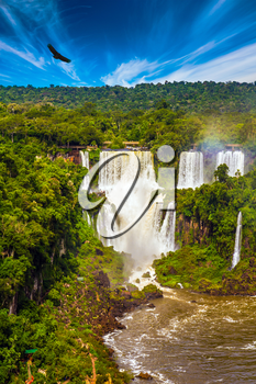 The fantastic Iguazu Falls in South America, on the border of three countries: Brazil, Argentina and Paraguay. Concept of active and extreme tourism