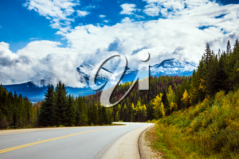The grandiose nature of the Rockies of Canada. The Highway 93 Icefields Parkway passes among the snow-capped mountains and autumn multicolored forests. The concept of active car tourism