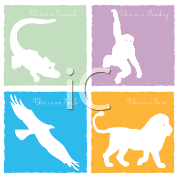 Royalty Free Clipart Image of Four Animal Cards
