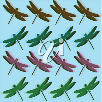 Royalty Free Clipart Image of a Background With Dragonflies