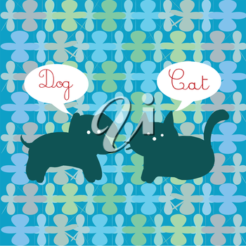 Royalty Free Clipart Image of a Dog and Cat With the Words Above Their Heads