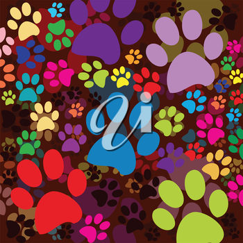 Royalty Free Clipart Image of Coloured Paw Prints