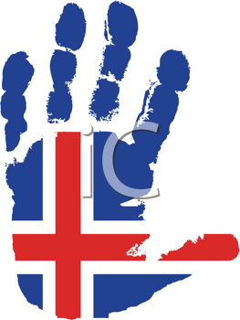 Royalty Free Clipart Image of a Flag of Iceland on a Palm