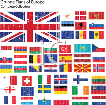 Royalty Free Clipart Image of a Grunge Group of European Flags
